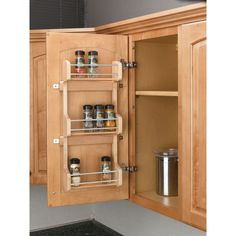 Rev-A-Shelf helps to maintain shelf space and keep spices within reach our wood door mount spice rack. Easy to install and all hardware included
