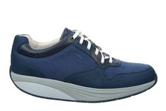 Men's Said Denim Blue/White : A classic runner silhouette enhanced with MBT movement technology. A mixture of canvas, nubuck and full grain leather uppers finished with a textile footbed, our patented rocker sole and non-marking outsole. Online Shopping Shoes, Shoes Uk, Uk Online, Blue Denim, Blue And White, Silhouette, Technology, Canvas, Classic