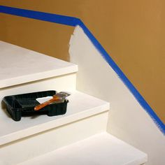 Faux baseboard for stairs - a great way to use up all those small pieces of trim we saved from the demo! Stairs Skirting, Stairs Trim, Redo Stairs, Staircase Makeover, Basement Stairs, Staircase Ideas, Stair Trim Ideas, Basement Ideas, Stair Redo