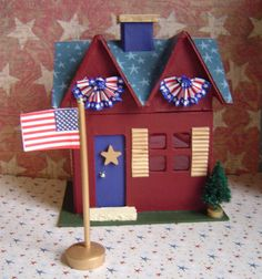 Patriotic Paper Mache Cottage 6 1/2 inch by thesaltboxcollection, $20.00