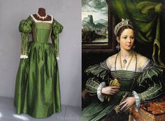 The dress reproduction with its inspirational painting, by Kempeneer. So amazing! 1st half of the 16th century, Italy.