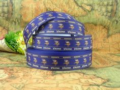 "5 Yards 7//8/"" Minnesota Vikings Grosgrain Ribbon Crafts Bows Scrapbooking"