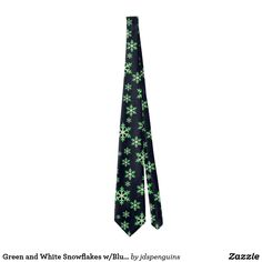 Green and White Snowflakes w/Blue Background Tie