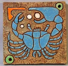 Arts and Crafts Crab Tile, c1920s