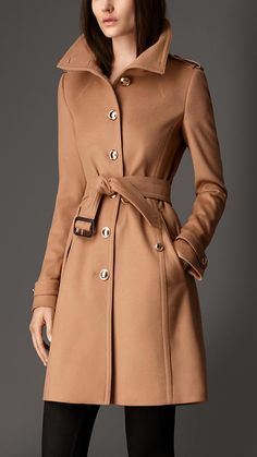 Funnel Neck Wool Cashmere Coat   Burberry