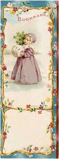 Free Vintage Winter Bookmark Download