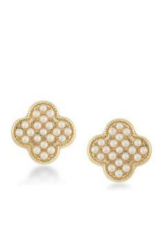 Carolee  Casablanca Cachet Pave Pearl Stud Pierced Earrings