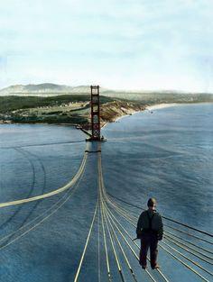 Golden Gate Bridge  unknown via midnight oils tumblr.