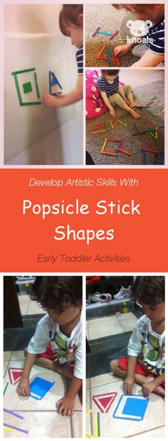#Knoala Early Toddler activity 'Popsicle Stick Shapes' helps little ones develop Artistic, Cognitive, Motor and Language skills. Click for simple instructions & 1000s more fun, easy, no-prep activities for kids ages 0-5! #activities #DIY