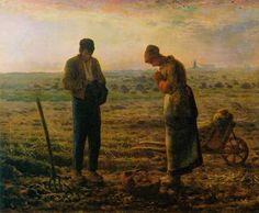 """Monologo"", di Cyprian Kamil Norwid - Immagine: J. Millet, L'Angelus The Angelus Painting, Jean Antoine Watteau, Jean Francois Millet, Barbizon School, Oil On Canvas, Canvas Prints, Marc Chagall, Painting Art, Impressionist"