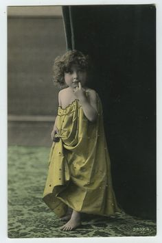 c 1910 Vintage Children Child CUTE LITTLE GIRL photo postcard