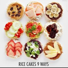Cakes 9 Ways - The Chic Site I love Rice Cakes! See how I transformed my favorite snack 9 different ways!I love Rice Cakes! See how I transformed my favorite snack 9 different ways! Rice Cake Snacks, Rice Cake Recipes, Rice Cake Toppings, Salad Recipes, Healthy Meal Prep, Healthy Eating, Healthy Recipes, Simple Healthy Snacks, Breakfast