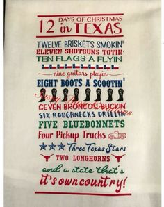 12 days Texas Style, needs some tweaks like SIX FLAGS flying and 1 should be lone star something Texas Texans, Texas Longhorns, Christmas Quotes, Christmas Humor, Christmas Crafts, Texas Quotes, Texas Sayings, Texas Humor, Texas Meme