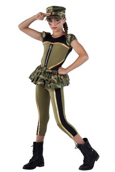 15396 Stomp The Yard   Hip Hop Funk Dance Costumes   Dansco 2015   Black spandex leotard with olive spandex inserts and camouflage printed cotton sleeves and attached bubble skirt. Separate matching capri pants. Gold metallic spandex binding and metal ring zipper trim. Headpiece included.