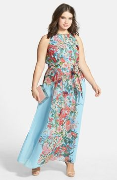Adrianna Papell Embellished Keyhole Floral Print Chiffon Maxi Dress (Plus Size) | Nordstrom