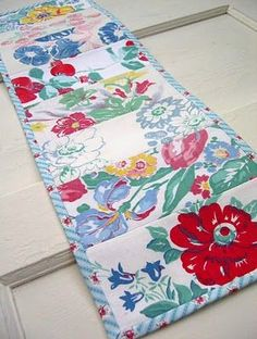 Vintage table runner! Love it!!!!!! Make with those too stained or damaged to use: