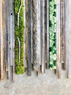 Wall Garden mixed fields preserved moss and rust - Jardin Vertical Fachada Moss Wall Art, Moss Art, Agriculture Verticale, Garden Art, Garden Design, Wood Art Panels, Fleur Design, Tabletop Fountain, Vertical Farming