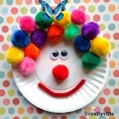 Quick Kids Crafts: Paper Plate Clowns & Faces (Let kiddos be creative)<br> Kids Crafts, Clown Crafts, Paper Plate Crafts For Kids, Daycare Crafts, Craft Activities For Kids, Projects For Kids, Craft Projects, Arts And Crafts, Craft Ideas