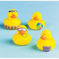 Amazon.com: One Dozen (12) Mini BEACH Rubber Duckie Ducky Duck Party Favors: Toys & Games