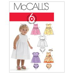 Infants' Lined Dresses, Panties And Headband-All Sizes in One Envelope Pattern at Joann.com