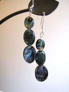 Abalone  and Moss Agate Earrings by SmithNJewels on Etsy, $18.99