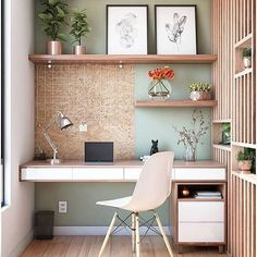 60 Comfortable Home Office Ideas to Inspire. home office ideas; small home office; There is a need for a home office, especially for those who work at home or need continue unfinished work at home. A good workspace… House Interior, Office Interiors, Home, Interior, Small Home Offices, Home Desk, Home Furniture, Home Office Decor, Home Decor