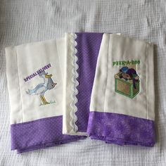 Set of 3 Purple Embroidered Burp Cloths by BestFriendsBaby on Etsy https://www.etsy.com/listing/246155738/set-of-3-purple-embroidered-burp-cloths