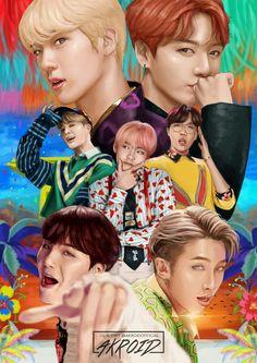 Bts - love yourself : answer (idol) fan art poster Foto Bts, Bts Bangtan Boy, Bts Jimin, Bts Kawaii, Les Bts, Bts Group Photos, Bts 2018, Bts Love Yourself, Bts And Exo