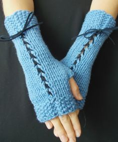 Fingerless Gloves in Blue Texting gloves Victorian by LaimaShop, $34.00