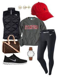 """Relaxed Baseball game look."" by georgiagreenwell ❤ liked on Polyvore featuring The North Face, Burberry, NIKE, Polo Ralph Lauren, Lord & Taylor and Louis Vuitton"