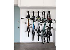 Get your garage shop in shape with garage organization and shelving. They come with garage tool storage, shelves and cabinets. Garage storage racks will give you enough space for your big items and keep them out of the way. Garage Organization Bikes, Garage Tool Storage, Garage Storage Solutions, Organized Garage, Storage Ideas, Workshop Organization, Storage Racks, Basement Storage, Garage Bike