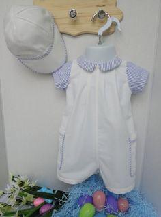805519ef9 Baby Boy Romper, Boy Baptism Outfit - White Christening Outfit, Boys White  Jon Jon - Toddler Boy Easter Romper, White Jon Jon, 12-18 months