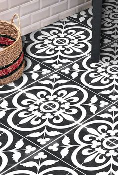 Vinyl Floor Tile Sticker - Corona Black | Quadrostyle.com - Peel N' Stick Tile Stickers