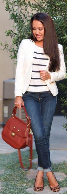Casual Stripes And White Blazer #