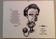 KÜLTÜR-SANAT İNSANLARI PORTRE SERGİSİ - Emil Cioran sözleri - Bülent Karaköse - karikatür portre