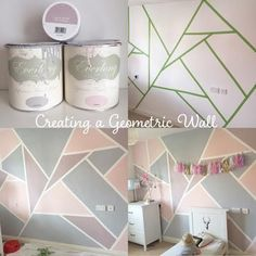 How to create a Geometric Wall with Everlong Paint It seems the summer weather is a distant dream already, despite only being the end of July, it hasn't been a great 2016 so far, has it? To cheer myself up, I Bedroom Wall, Girls Bedroom, Bedroom Decor, Wall Decor, Bedroom Ideas, Bedrooms, Little Girl Rooms, Paint Designs, Wall Design