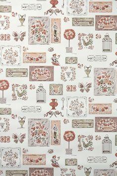 Kitchen Vintage Wallpaper 1950s Textile Design