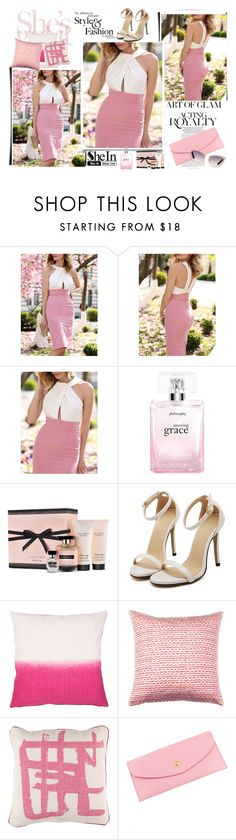 """""""Pink White Business Sleeveless Block Dress"""" by littlemisscupcake88 ❤ liked on Polyvore featuring philosophy, Victoria's Secret, Jaipur, Brita, Surya and Tom Ford"""