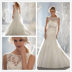 Lace Full length White/Ivory Beaded Wedding Dress Bridal Gown