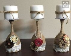 Wine glass candle holders by Beartsandcrafts on Etsy Weinglas Kerzenhalter by Beartsandcrafts on Etsy This image has get Wine Glass Candle Holder, Diy Candle Holders, Diy Candles, Glass Holders, Lace Candles, Bottle Candles, Wine Glass Crafts, Wine Bottle Crafts, Jar Crafts