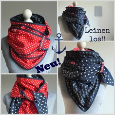 This reversible scarf by Ms. Luther is a beautiful triangular scarf with anchor … - Knitting and Crochet Hooded Scarf, Cowl Scarf, Sewing Scarves, Cape Pattern, Diy Couture, Creation Couture, Sewing For Beginners, Neck Scarves, Neck Warmer
