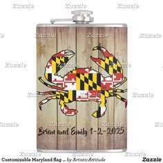 Customizable Maryland flag wood flask Father Of The Bride, Groomsmen, Flask, Keep It Cleaner, Things To Sell, Grooms