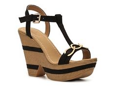 Wanted Chained Wedge Sandal - in nude
