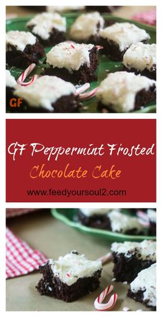 GF Peppermint Frosted Chocolate Cake from Feed Your Soul Too Peppermint Best Gluten Free Desserts, Delicious Desserts, Dessert Recipes, Fun Holiday Desserts, Holiday Recipes, Holiday Ideas, Gluten Free Chocolate Cake, Chocolate Cake Mixes, Flavored Milk