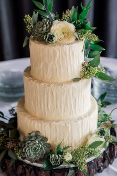 Organic White buttercream Wedding cake with greenery and succulents - Holly Marie Photography #weddings #weddingcake #cake  #weddingcakes  #wedding  #weddingideas #weddinginspiration