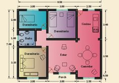 2 Bedroom House Plans, My House Plans, Small House Plans, Shed Plans, House Floor Plans, Simple House Design, Apartment Plans, Home Design Plans, House Layouts