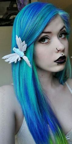 Beautifully blended icy and deep blue, with a twist of neon green