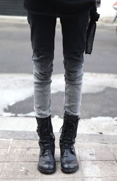 black and grey jeans and boots.