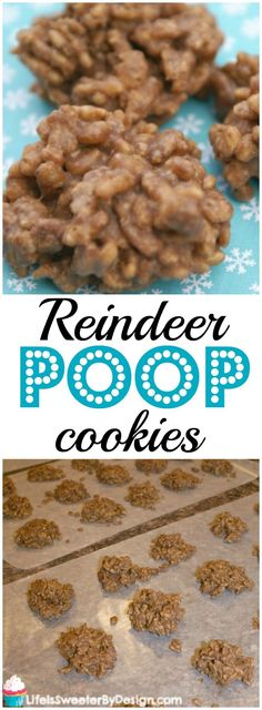 Reindeer Poop Cookies are a simple no bake cookie to make, yummy to eat and a great kid cooking activity for Christmas! These fun Christmas cookies are a hit with kids and adults! (Chocolate Peanut Butter No Bake)