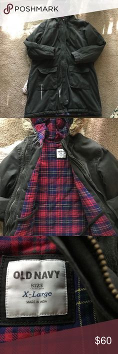Long forest green fur hooded parka Long with faux fur hood, flannel lined, heavy and warm not holes or stains size XL but looks super cute oversized (I recommend anyone from medium to extra large) beautiful forest green color with buttons and zipper Old Navy Jackets & Coats